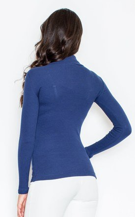 Navy Blue Turtleneck Blouse by FIGL