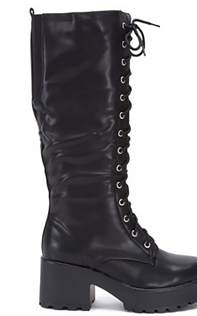 Black Chunky Cleated Platforms Lace Ups Knee High Boots by Shoe Closet