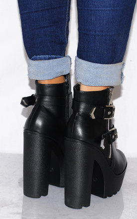 Black Chunky Cleated Platforms Buckles Zip Ankle Boots by Shoe Closet