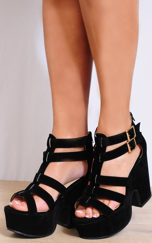 Black Faux Suede Wedged Platforms Strappy Sandals Wedges by Shoe Closet