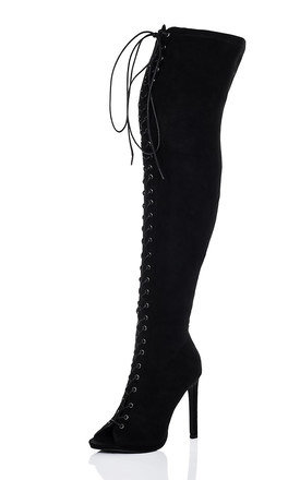 ZENTRIX Lace Up High Heel Stiletto Over Knee Tall Boots - Black Suede Style by SpyLoveBuy