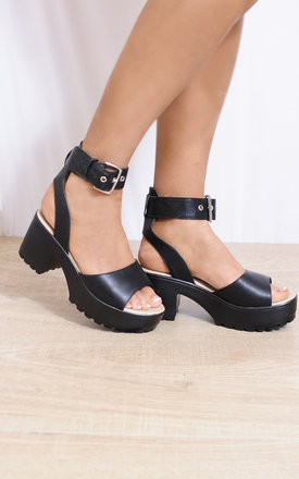 Black Strappy Sandals Cleated Platforms Peep Toes High Heels by Shoe Closet Product photo