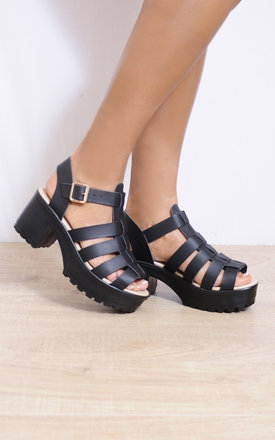 Black Strappy Sandals Cleated Platforms High Heels by Shoe Closet