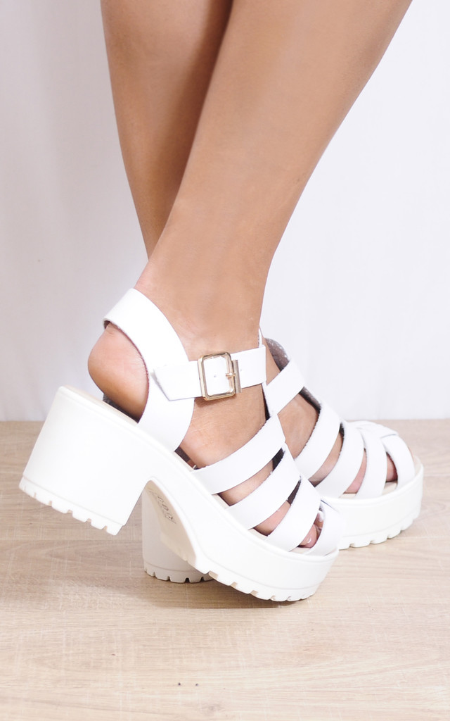 Strappy Cleated Platform Sandals in White by Shoe Closet