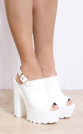 White Cleated Platforms Slingbacks Strappy Sandals High Heel by Shoe Closet