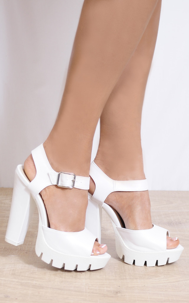 White Faux Leather Ankle Straps Strappy Sandals High Heels by Shoe Closet