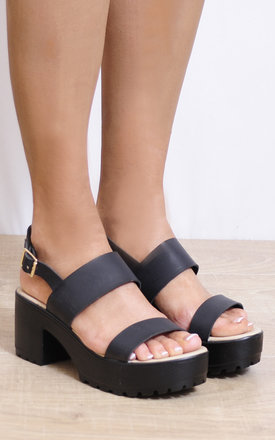 Black Strappy Sandals Cleated Platforms Slingbacks High Heels by Shoe Closet