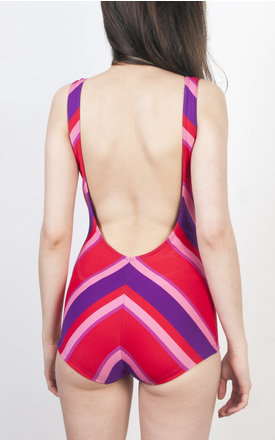 Chevron mod swimsuit 60s purple & pink & red swimming dress by Pop Sick Vintage