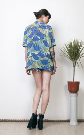 Floral print sheer blouse 90s blue & green summer shirt by Pop Sick Vintage
