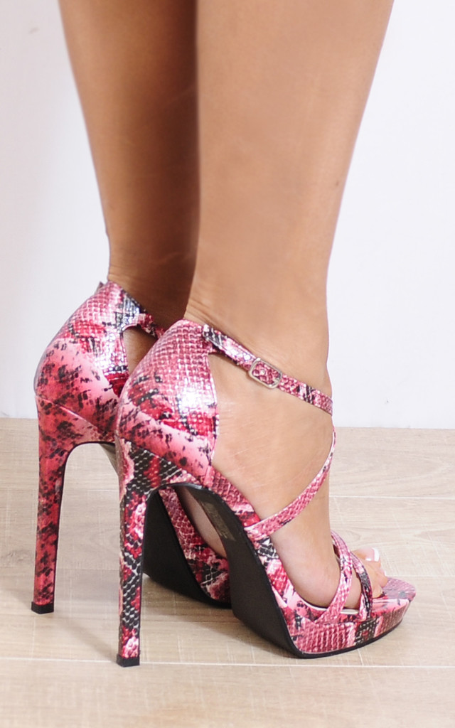 Fuchsia Red Ankle Straps Strappy Sandals Peep Toes High Heels by Shoe Closet