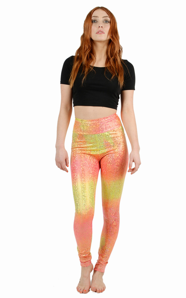 Ombre Peach Disco Leggings by Tirade 13