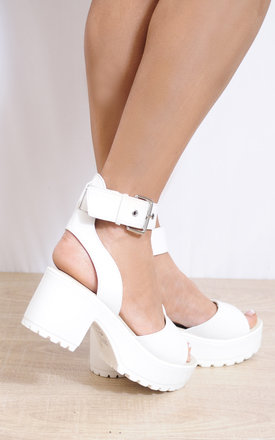 White Strappy Sandals Cleated Platforms Peep Toes High Heels by Shoe Closet