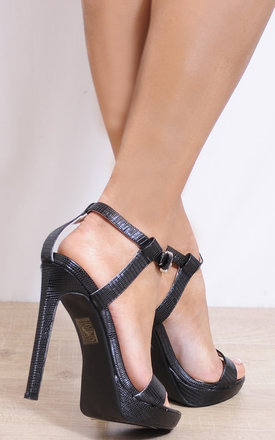Black Ankle Straps Strappy Sandals Peep Toes High Heels by Shoe Closet
