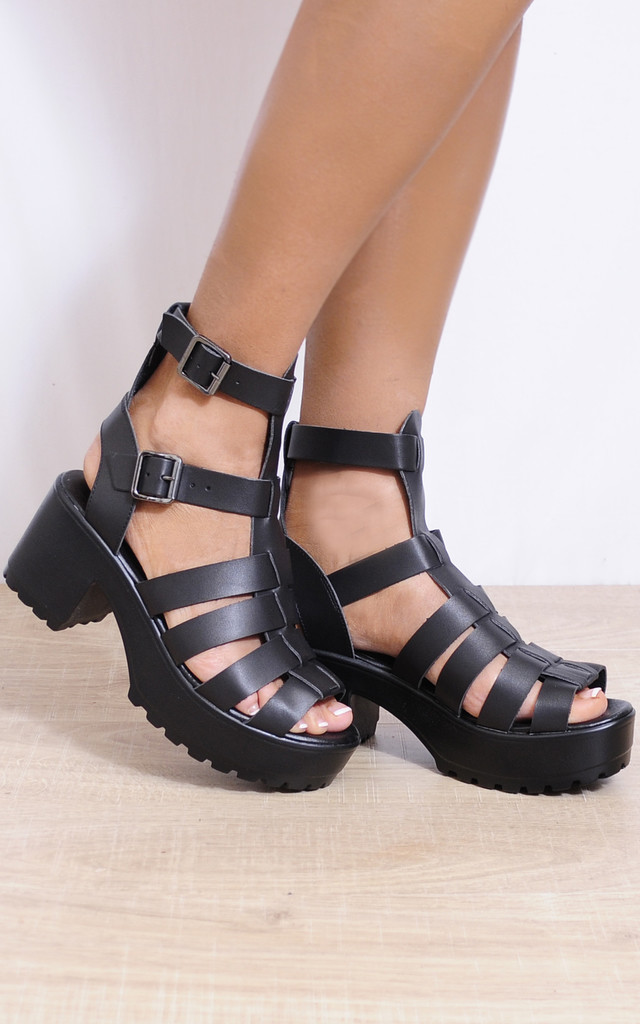 Black Cleated Platforms Ankle Strap Strappy Sandals Shoes by Shoe Closet
