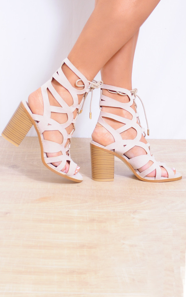 Nude Faux Suede Cut Outs Lace Ups Peep Toes Strappy Sandals by Shoe Closet