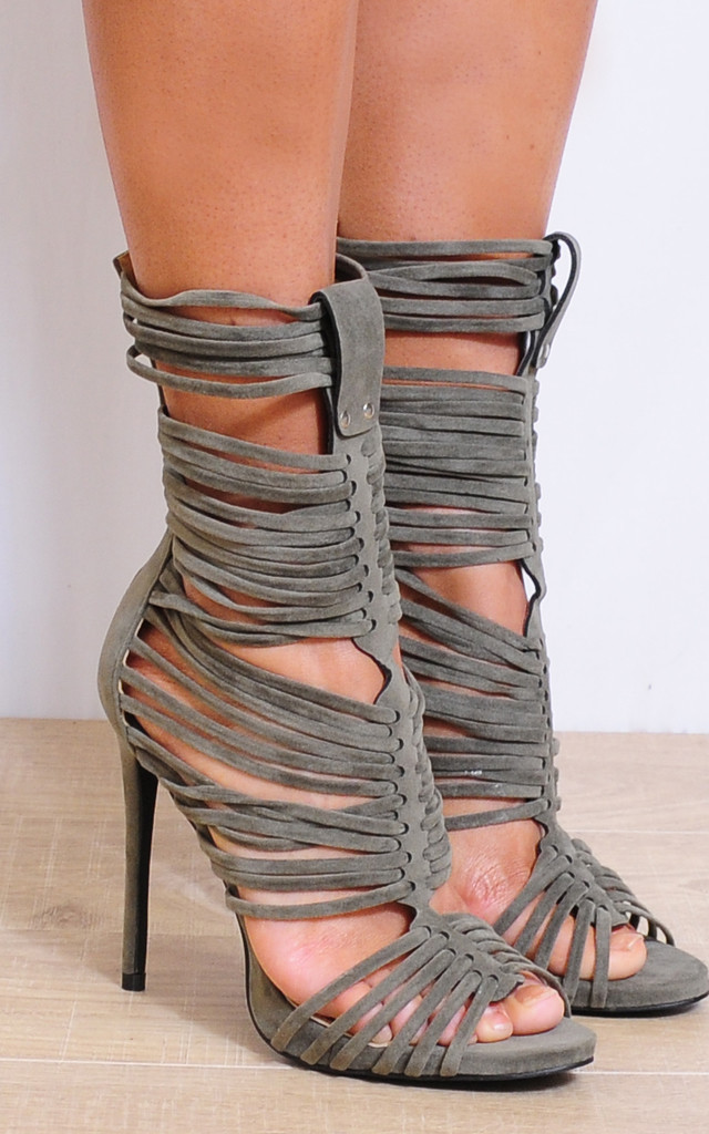 Khaki Green Strappy Sandals Ankle Strap Peep Toes High Heels by Shoe Closet