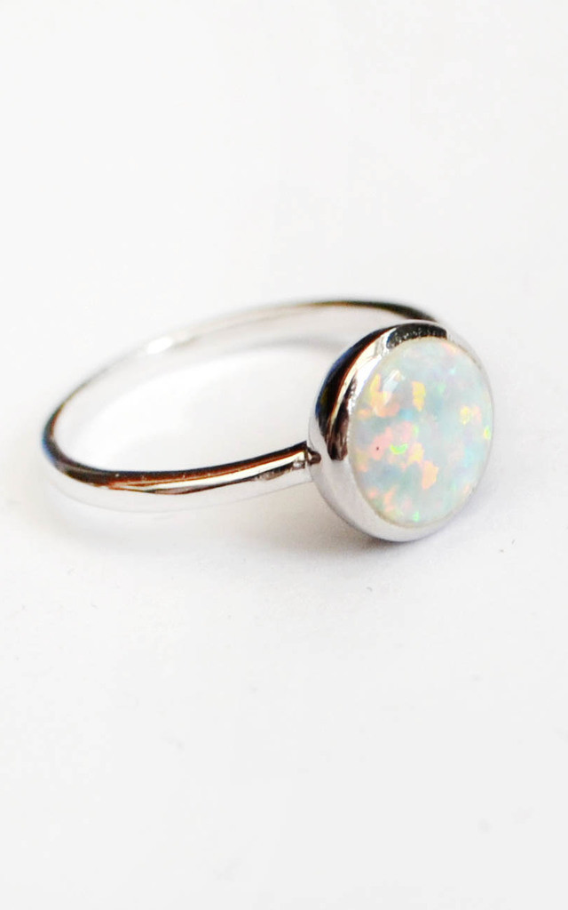 Opal Moon Sterling Silver Ring by Wanderdusk