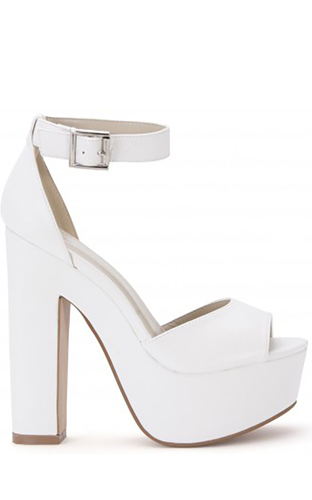White Ankle Straps Strappy Sandals Peep Toes High Heels by Shoe Closet