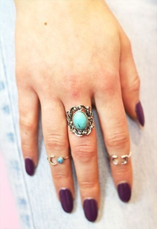 Tibetan silver and turquoise adjustable ring by Colour Me Vintage