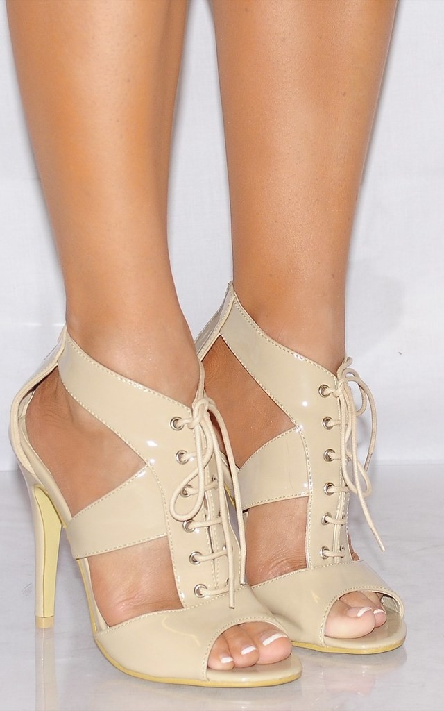 Nude Patent Cut Out Lace Ups Strappy Sandals High Heels by Shoe Closet