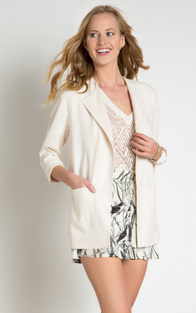 Three Quarter Sleeve Jacket With Pockets by URBAN TOUCH