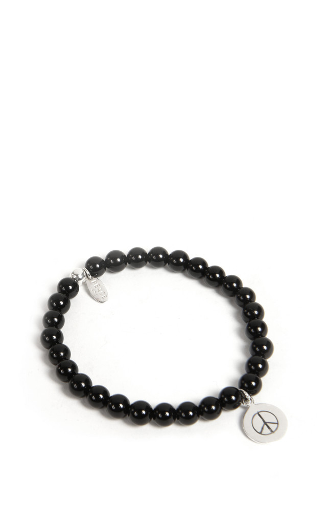 925 Sterling Silver Black Agate Peace Bracelet by Helix and Felix