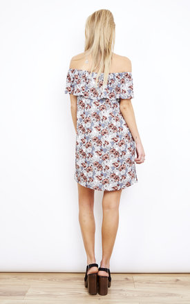 Off the Shoulder Frill Dress in Grey Daisy Print by Glamorous