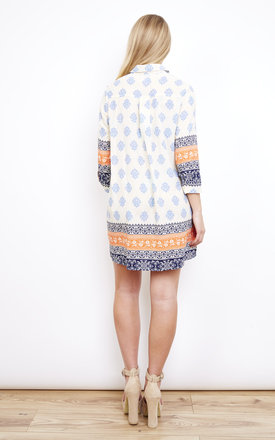 Printed Orange Contrast Shirt Dress by Lola May