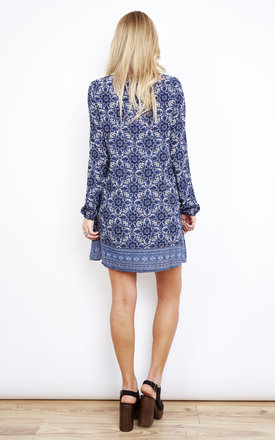 Tassel Tie Front Swing Dress in Indigo Print by Glamorous