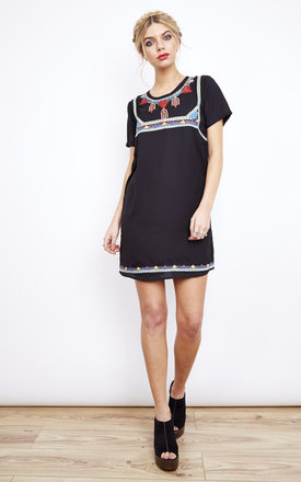 Black Embroidered Front Dress by Glamorous