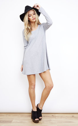 Grey Ribbed Long Sleeve Swing Dress by Glamorous Product photo
