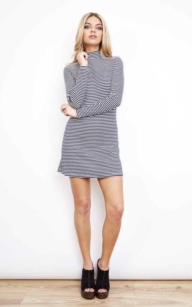 White and Navy Stripe Polo Neck Dress by Glamorous