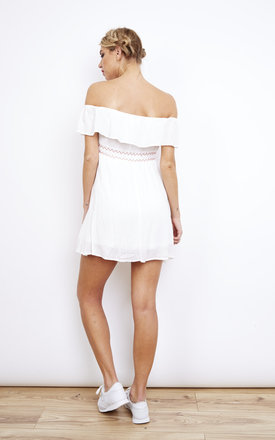 White Off the Shoulder Dress with  Red Embroidery by Glamorous