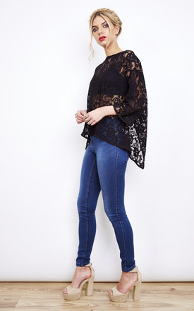 Black Lacey 3/4 Sleeve Wrap Top by VILA Product photo