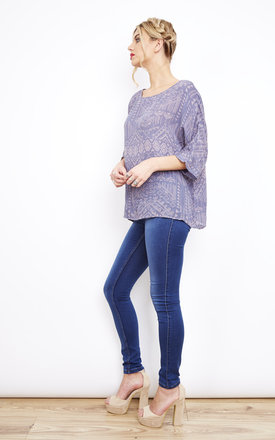 Grey Folkstone Print 3/4 Sleeve Top by VILA