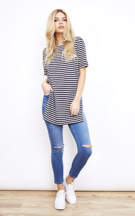Oversized Side Split T Shirt Navy Stripe by Glamorous Product photo