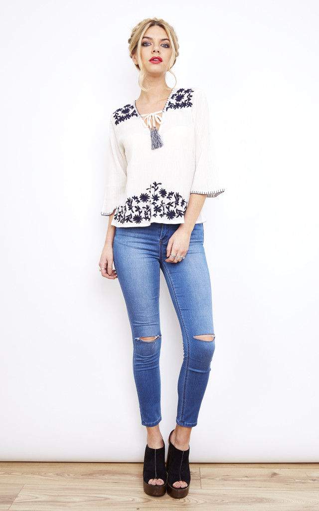 Gypsy Cream and Navy Embroidered Top Tassel Front by Glamorous