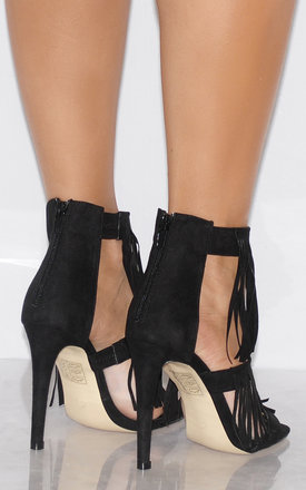 Black Faux Suede Tassels Fringed Strappy Sandals Ankle Strap High Heels by Shoe Closet