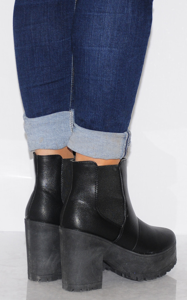 Black Cleated Platforms Elastic Chelsea Ankle Boots Heels by Shoe Closet