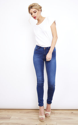 High Waisted Soft Feel Jeans In Medium Blue Denim by Noisy May Product photo