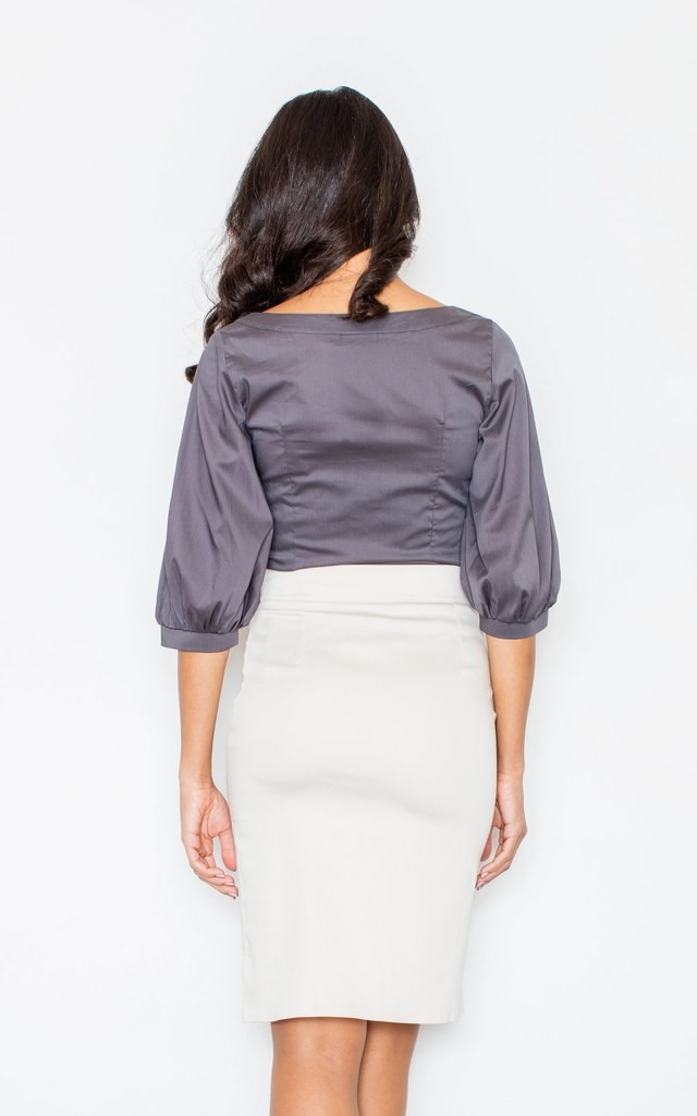 Ecru Skirt With Side Slits by FIGL
