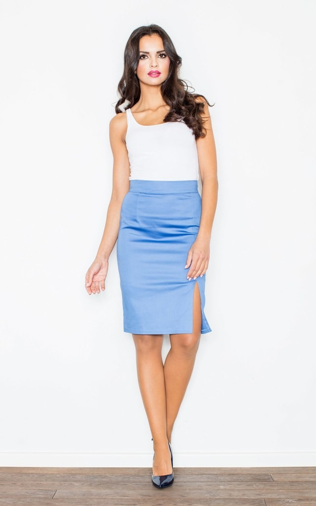 Blue Skirt With Side Slits by FIGL