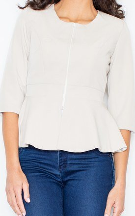 Beige Peplum Jacket with 3/4 Sleeves by FIGL