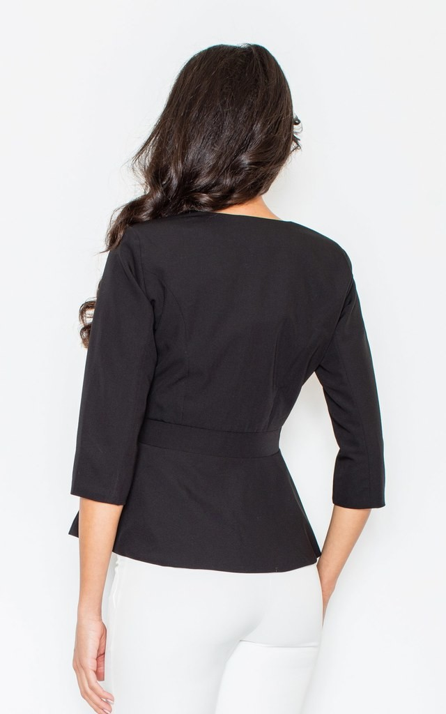 Black Peplum Jacket with 3/4 Sleeves by FIGL