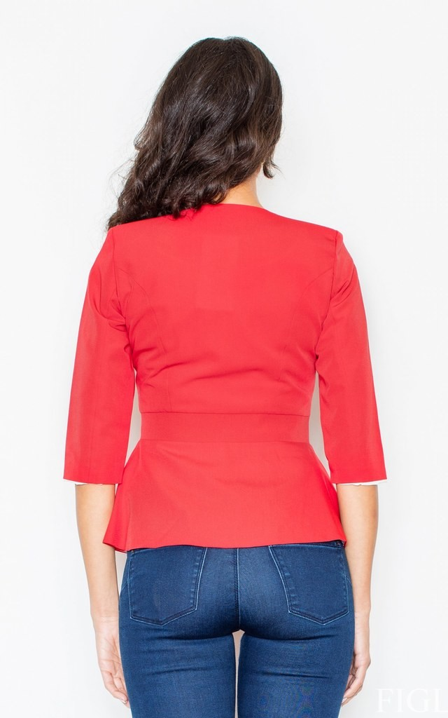 Red Peplum Jacket with 3/4 Sleeves by FIGL