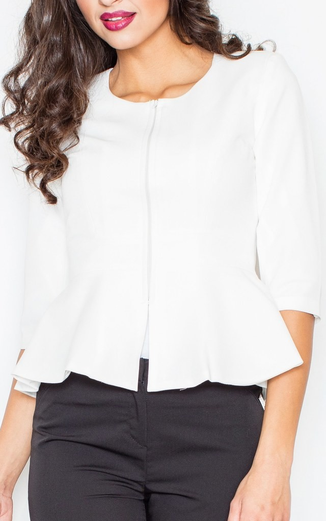 Peplum Jacket with 3/4 Sleeves in white by FIGL