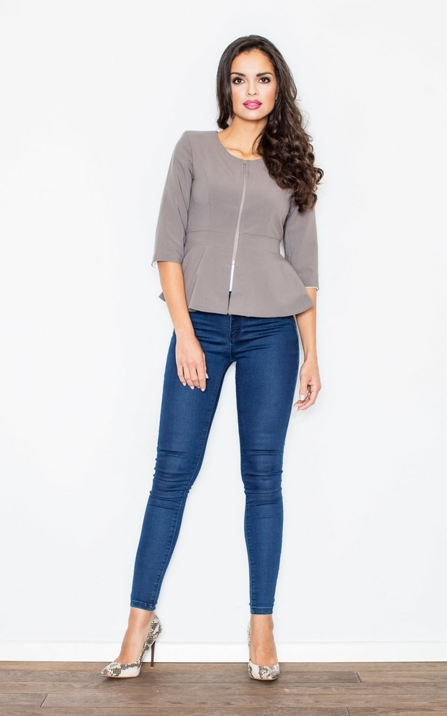 Grey Peplum Jacket with 3/4 Sleeves by FIGL
