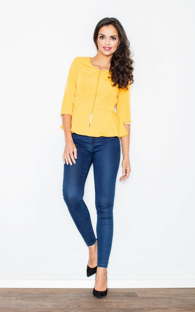Yellow Peplum Jacket with 3/4 Sleeves by FIGL