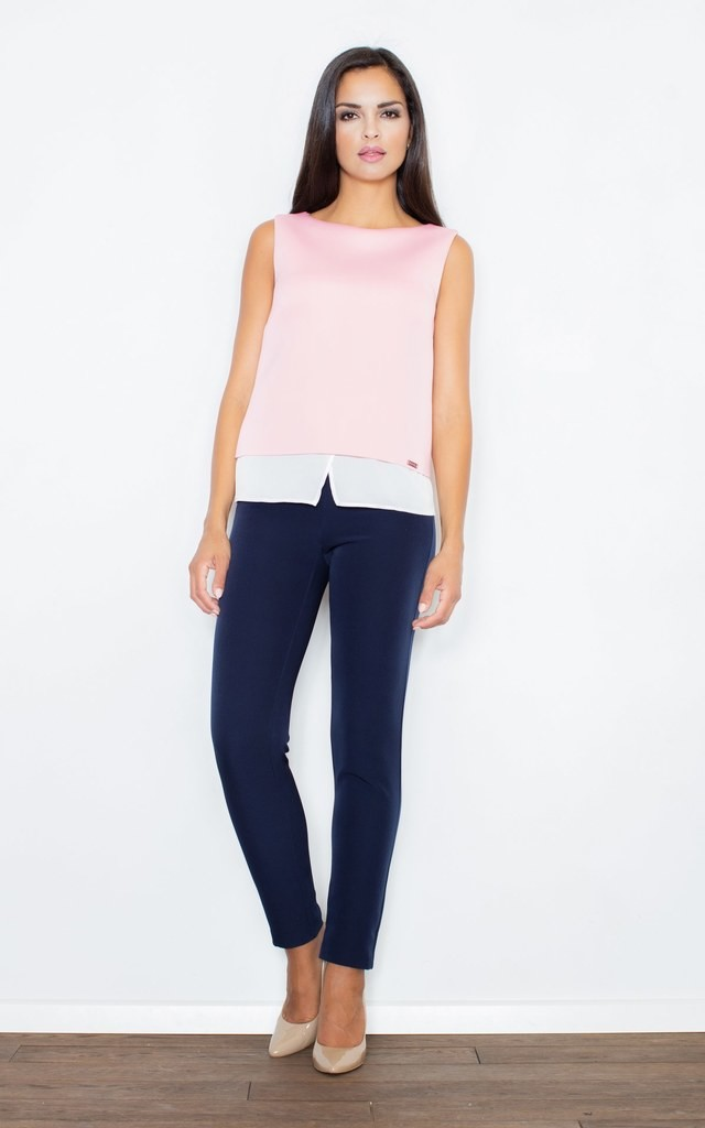 Pink Top With Blouse With Overlapping Bottom by FIGL