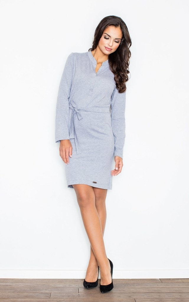 Grey Belted Dress with Buttons by FIGL